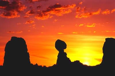 Orange yellow sky at sunset